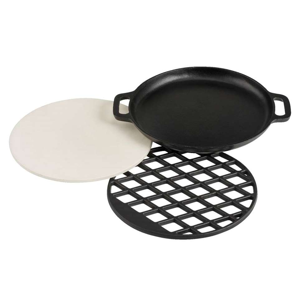 Patton combinatie Multi Grill Set BBQ Nova - zwart - 18x36 cm - Leen Bakker