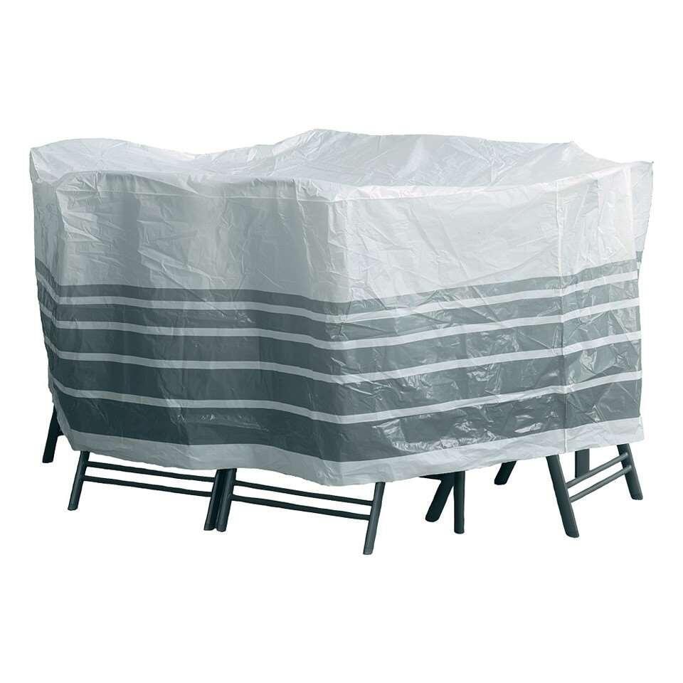 Tuinmeubelhoes ovale set - wit/grijs - 90x230x165 cm - Leen Bakker