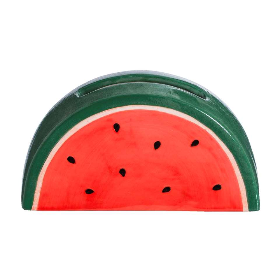 Deco Meloen - rood/groen - 16x8,5x5 cm - Leen Bakker