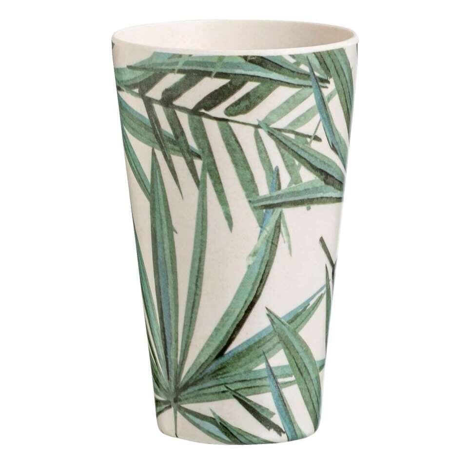 Beker Palm - wit/groen - 13xØ8,3 cm - Leen Bakker