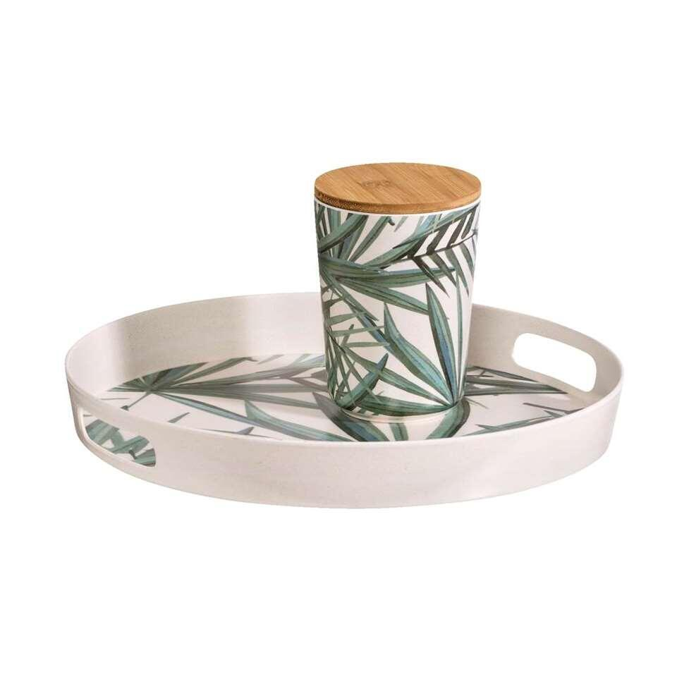Dienblad Palm - wit/groen - 4,5xØ34,5 cm - Leen Bakker