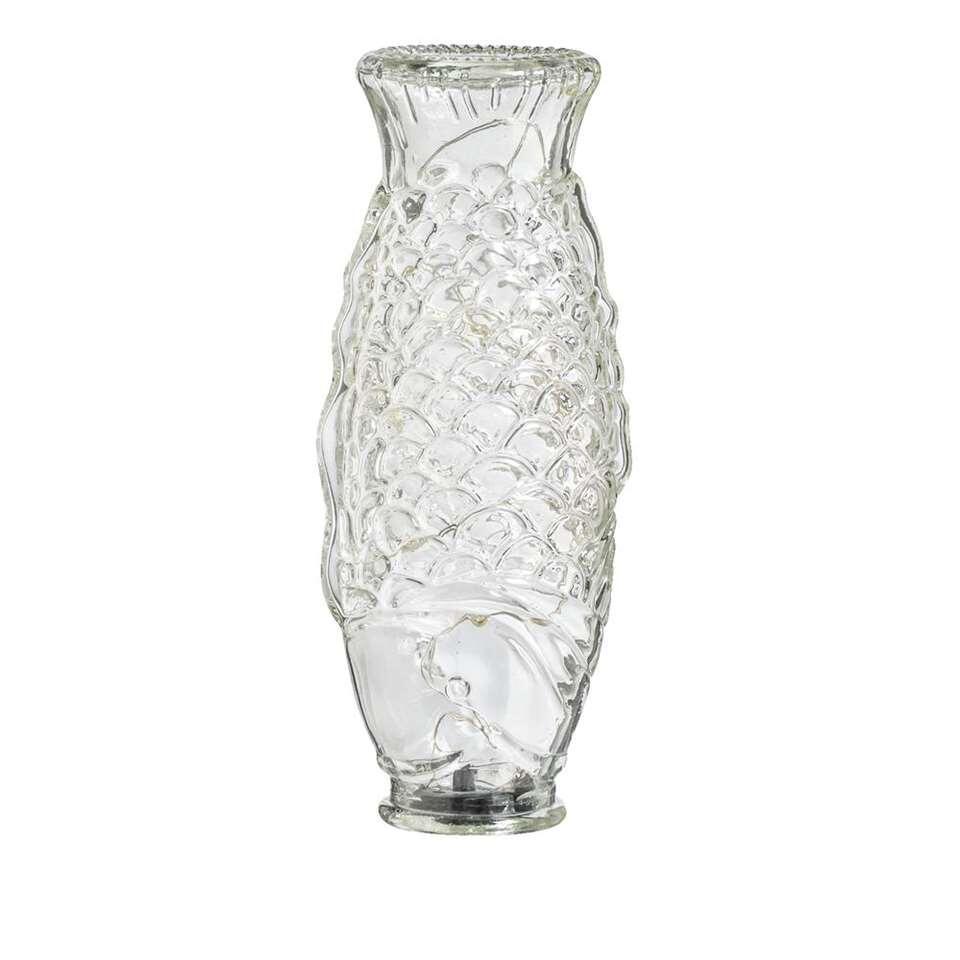 Fles Vis met LED - transparant - 17x7,5x5 cm - Leen Bakker