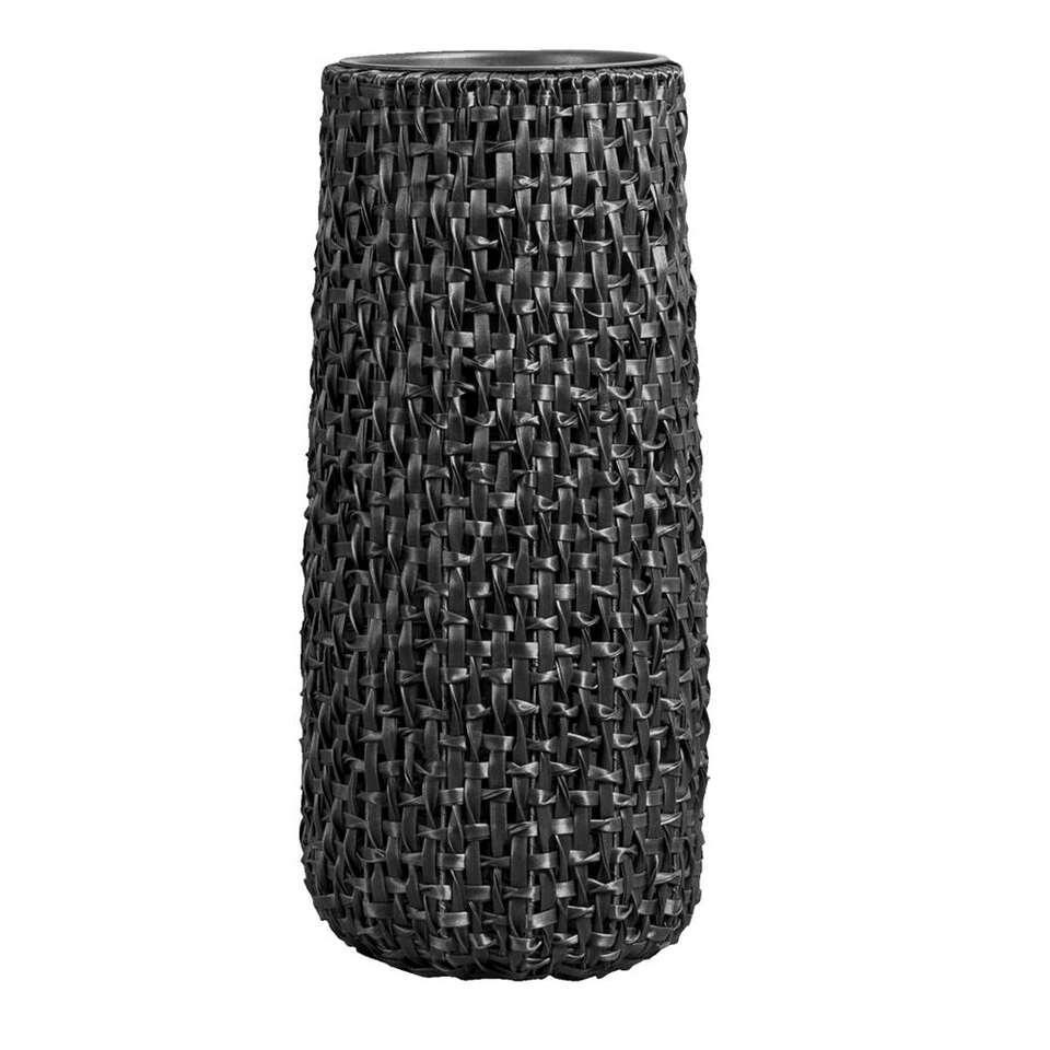 Bloempot Jaimy - zwart - 75xØ32 cm - Leen Bakker