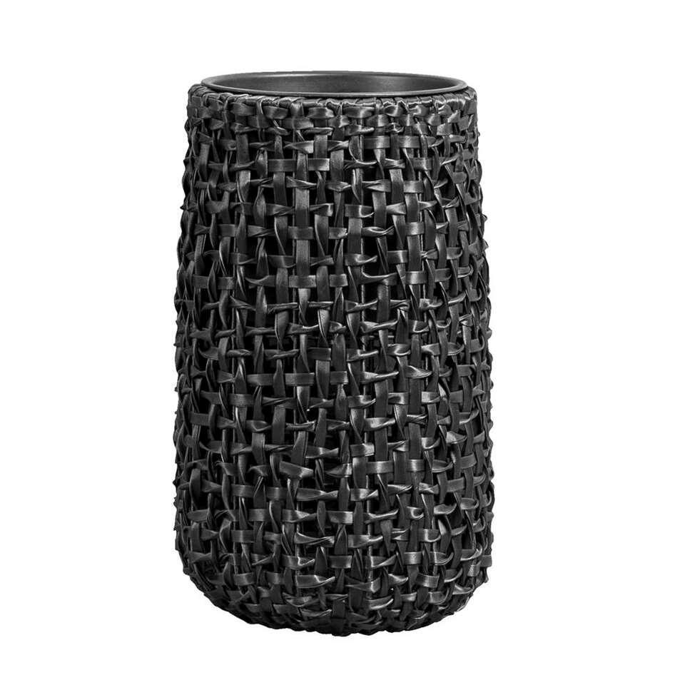 Bloempot Jaimy - zwart - 55xØ32 cm - Leen Bakker
