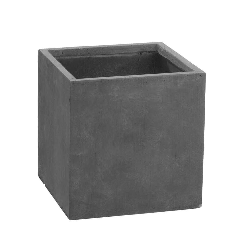 Bloempot vierkant Clay - zwart - 30x30x30 cm - Leen Bakker