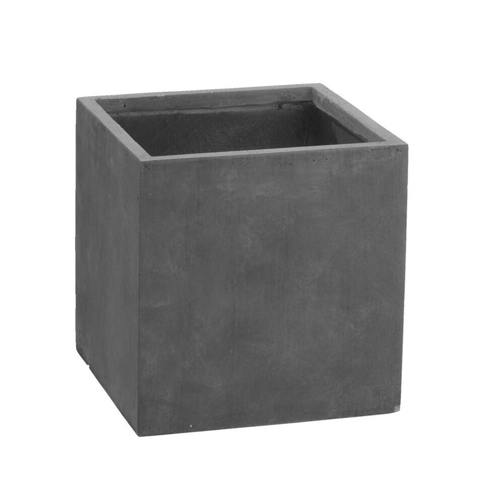 Bloempot vierkant Clay - zwart - 40x40x40 cm - Leen Bakker