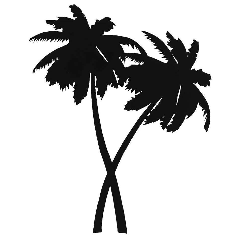Wanddeco metal-art Palmbomen – zwart – 44x36x1 cm – Leen Bakker