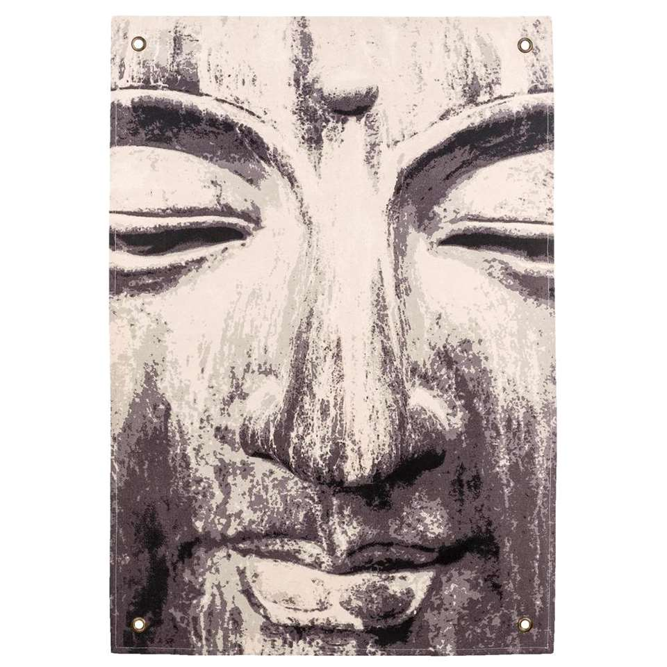Wandkleed Boeddha - groen - 112x80 cm - Leen Bakker