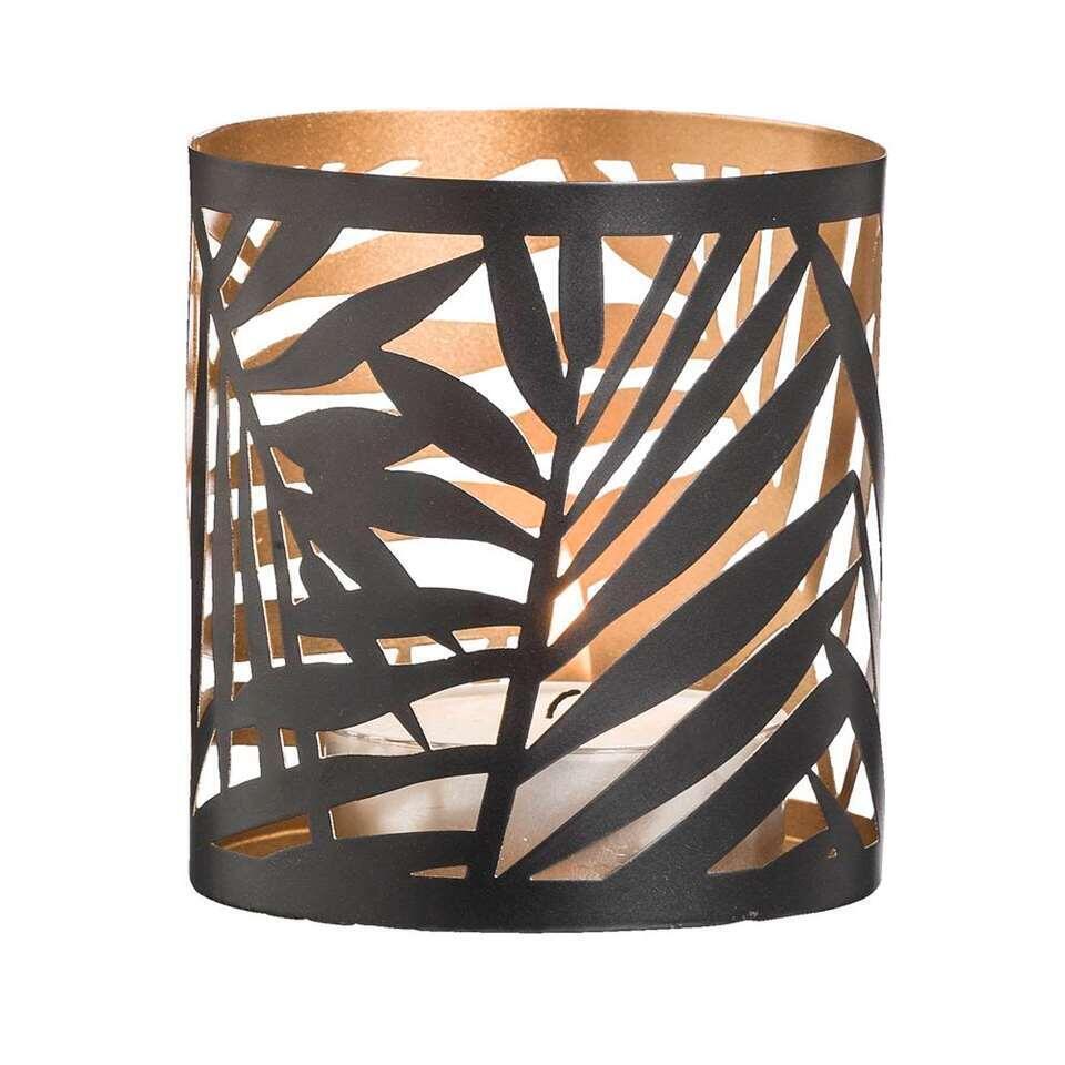 Theelichthouder Felipe – zwart/goudkleur – 10xØ9,3 cm – Leen Bakker