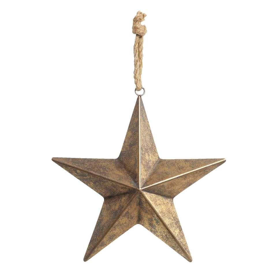Kerstdecoratie Ster - metaal - goud - 33x31,5 cm