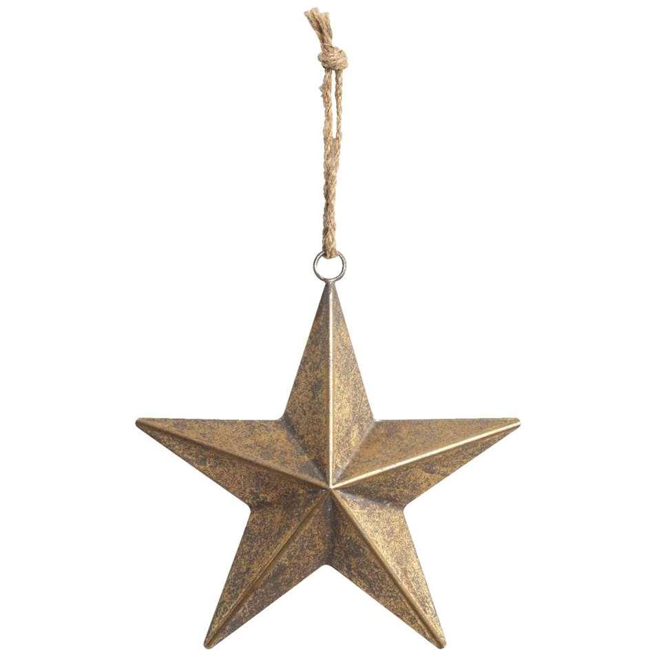Kerstdecoratie Ster - metaal - goud - 23,5x21,5 cm