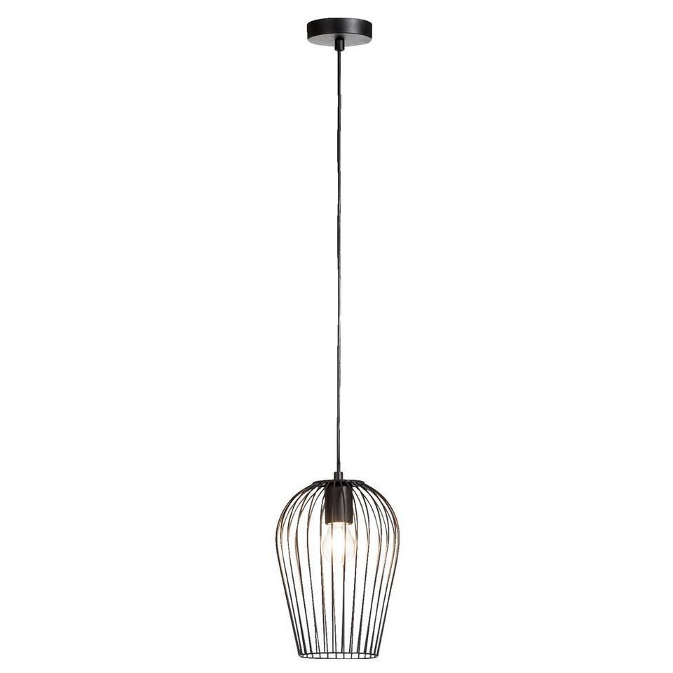 Hanglamp Lagos is een opvallende lamp. Deze moderne en eigentijdse lamp voelt zich thuis in interieurs met een moderne look. De lamp heeft een doorsnee van 19 cm. De lamp is gemaakt van metaal en mat zwart van kleur.