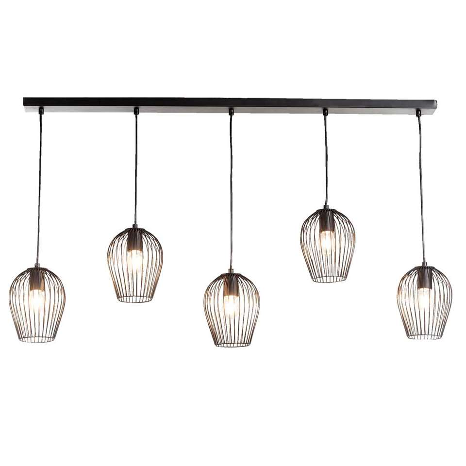 Hanglamp Lagos is een opvallende lamp. Deze moderne en eigentijdse lamp voelt zich thuis in interieurs met een moderne look. Deze lamp bestaat uit 5 lampen die op verschillende hoogtes hangen.