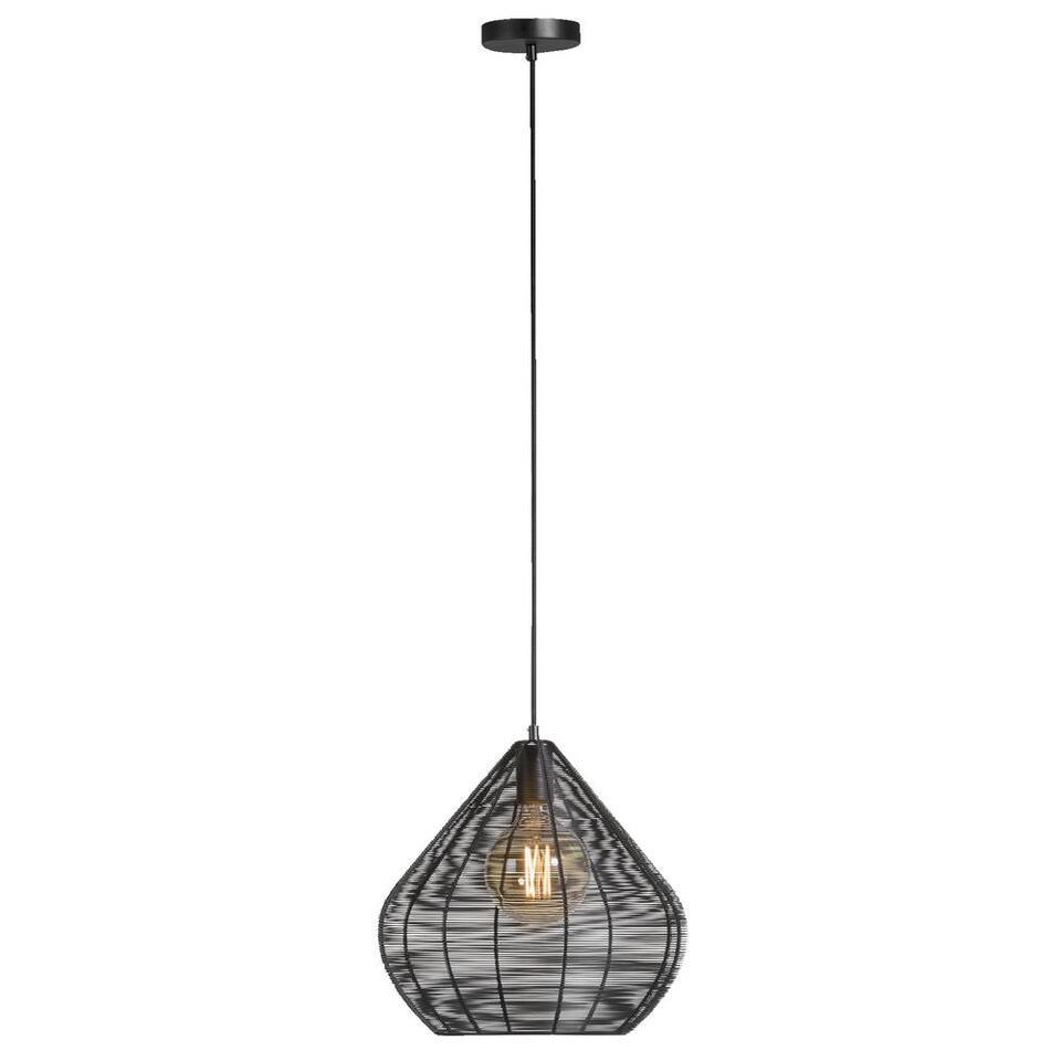 Leen Bakker Hanglampen.Hanglamp Vienne Mat Zwart O36x38 Cm