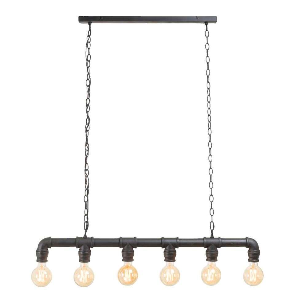 hanglamp jesse 6 lamps zwart 175x85x8 cm