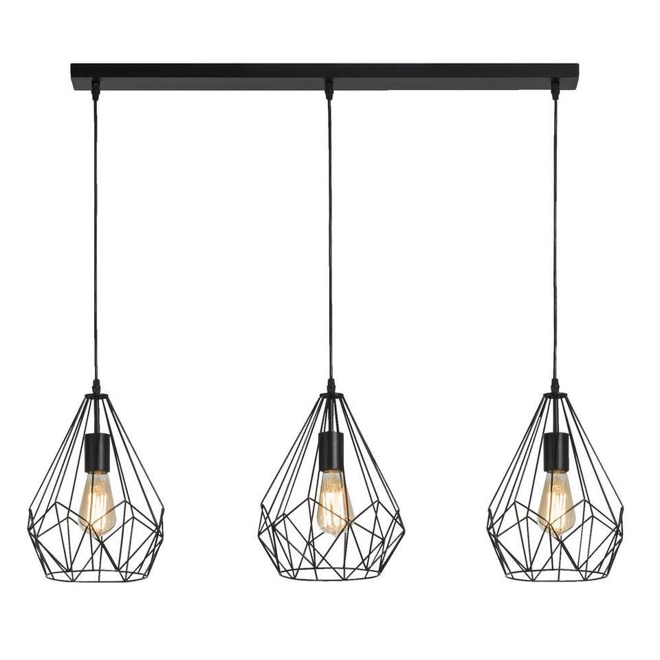 Hanglamp Marnix 3 lichts - zwart - 120x25 cm