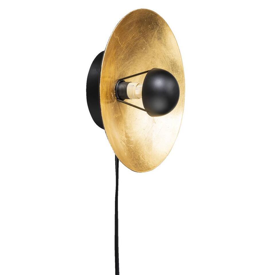 Wandlamp Brugge - goudkleurig/zwart - 20x20x12 cm