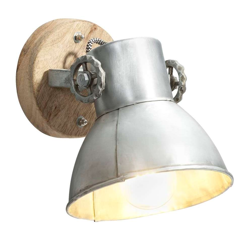 Wandlamp Ravi - hout/zilverkleur - 19 cm - Leen Bakker