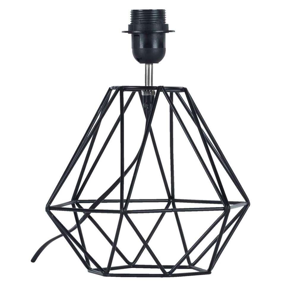 Voet tafellamp Frame - zwart - 29 cm - Leen Bakker