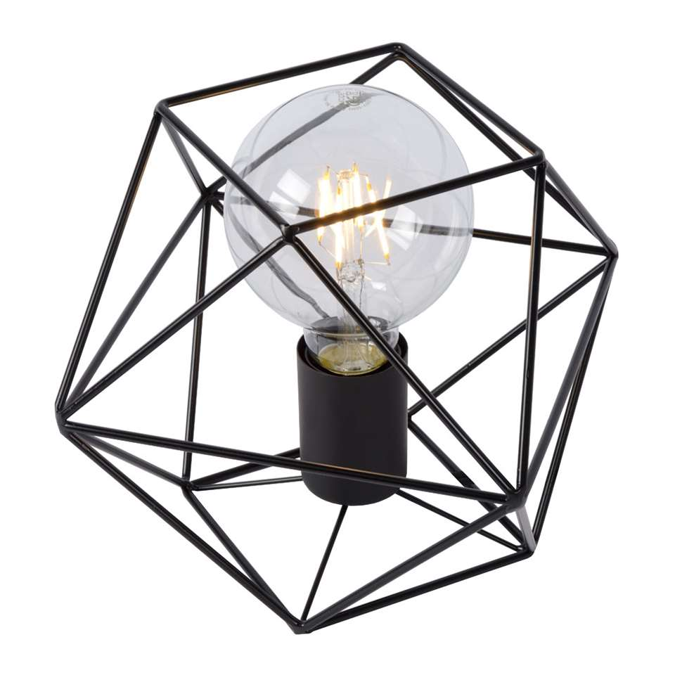 Lucide tafellamp Octagon - zwart - 18 cm - Leen Bakker