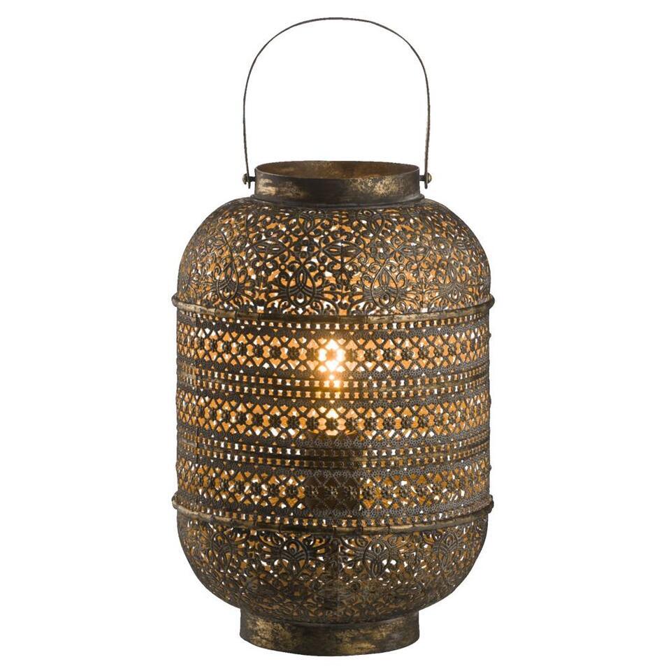 Tafellamp Roy – goudkleurig – Ø25×35 cm – Leen Bakker