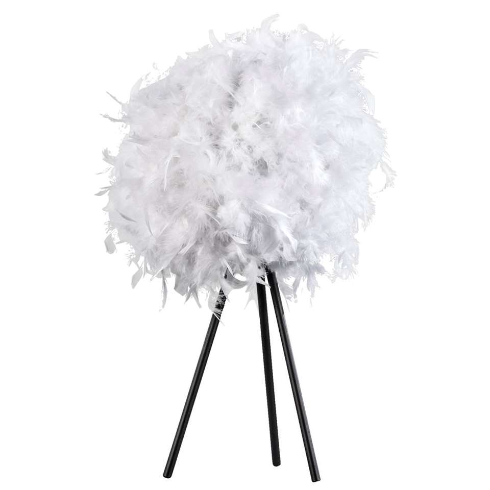 Tafellamp Veerle - wit - 40,5xØ25 cm - Leen Bakker