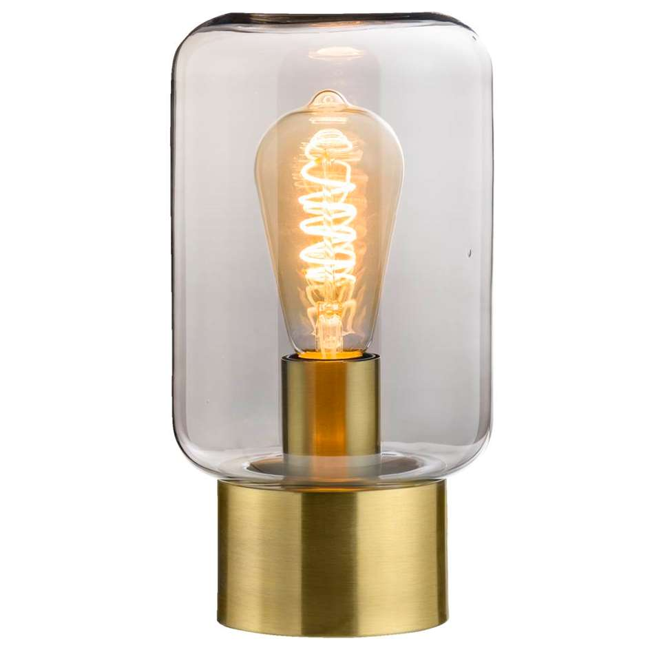 Tafellamp Zimmer is antiek brons van kleur en heeft een afmeting van 26x14x14 cm. Deze lamp is eenvoudig van design, maar valt daardoor juist op.