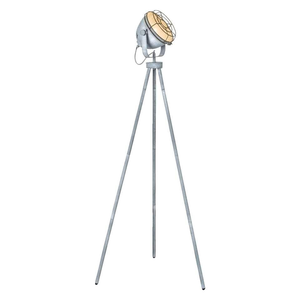 Vloerlamp Ben is een trendy lamp met een industriële look. Deze stoere lamp is gemaakt van metaal en heeft een stoere cementkleur. De hoogte van de staande lamp is 150 cm.