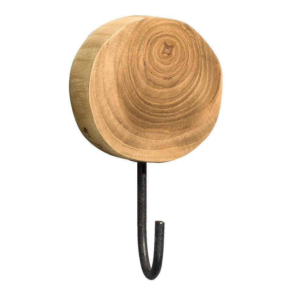 Wandhaak Finn - mungur hout - 15x8x3 cm - Leen Bakker