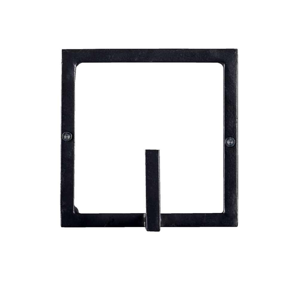 Wandhaak Aken 1 haaks - zwart - 12x12x8 cm