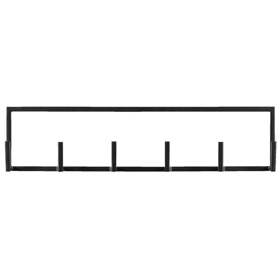Wandhaak Aken 6 haaks – zwart – 12x50x8 cm – Leen Bakker