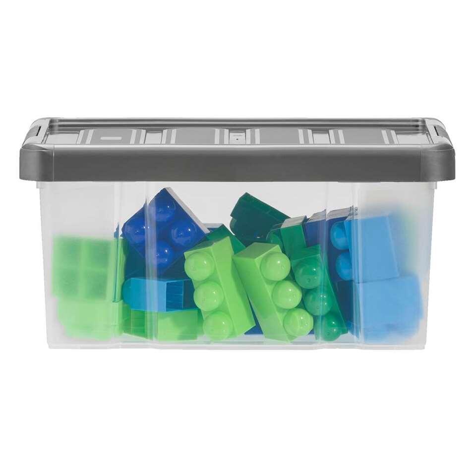 Opbergbox zware kwaliteit 14 liter - transparant/antraciet - 40,5x29x19 cm - Leen Bakker