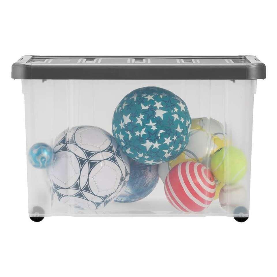 Opbergbox zware kwaliteit 60 liter - transparant/antraciet - 60,5x40x38,5 cm - Leen Bakker