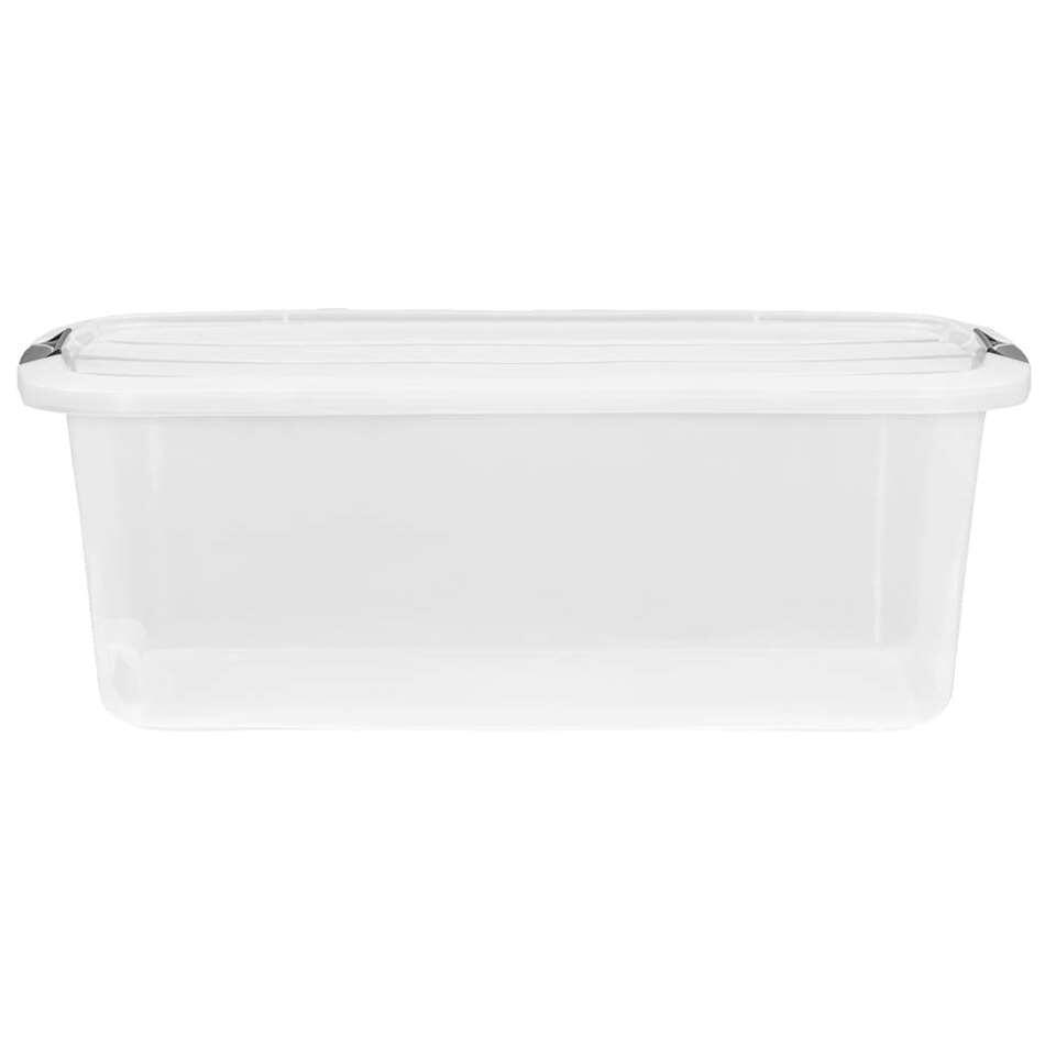 Deze handige en praktische opbergbox met een inhoud van 30 liter is ideaal om divere spulletjes te bewaren. Coderen is niet nodig omdat de opbergbox transparant is.