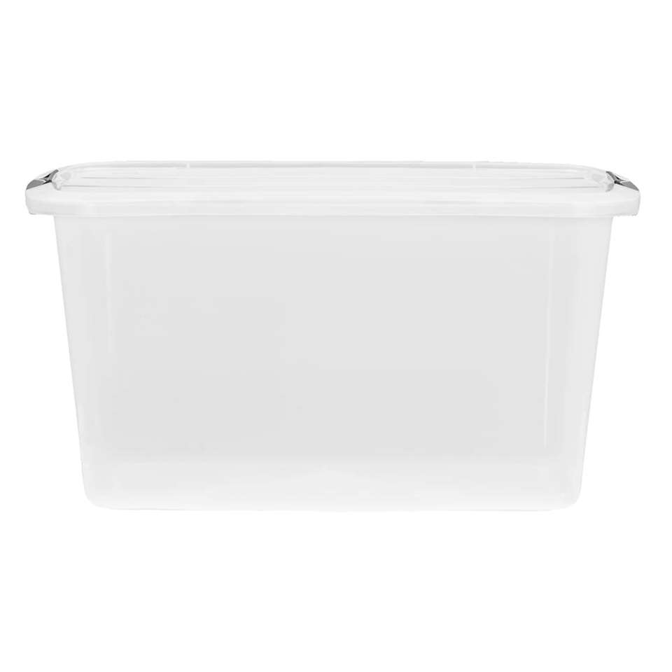 Opbergbox topbox 45 liter is een transparante box geschikt om enorm veel spullen in op te ruimen. Deze handige opbergbox is gemaakt van plastic en is transparant van kleur. Zo kan je precies zien wat je waar hebt opgeborgen.