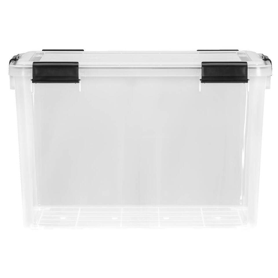 Opbergbox 70 liter is een grote plastic opbergbox met een afmeting van 38x39x59 cm. Deze opbergbox is transparant dus je ziet precies wat je waar hebt opgeborgen.