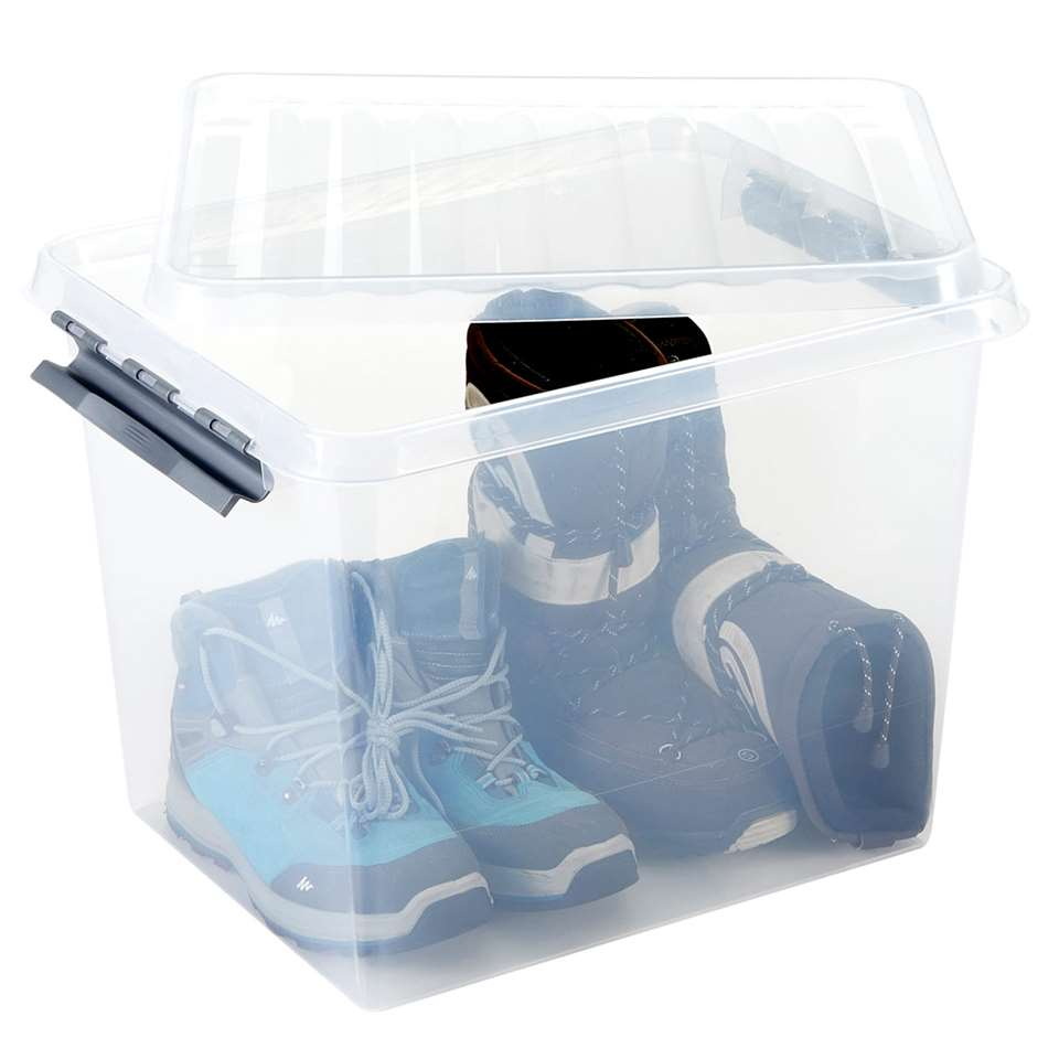 Stevige, zeer goed afsluitbare plastic opbergkist van Sunware uit de Q-line serie. De box sluit goed af door middel van 2 stevige, strak sluitende klemmen om de deksel. De inhoud is 52 liter.