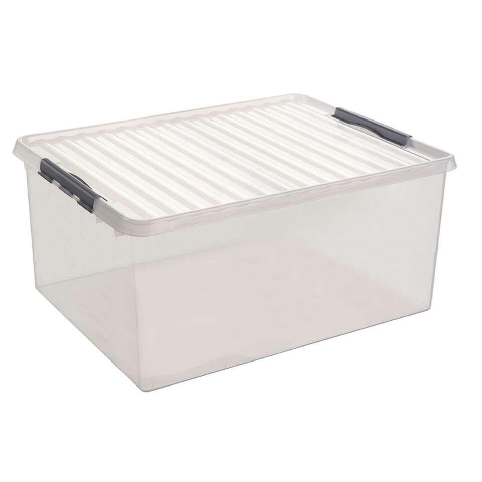 Berg heel gemakkelijk je dekbedden of kussens op in deze transparante box van het merk Sunware. De stapelbare Q-line met een inhoud van 120 l is gemaakt van kunststof en heeft een afmeting van 50x80x38 cm.