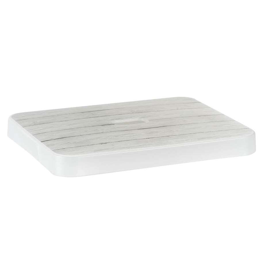 Sigma home opbergdeksel 24 liter is grijs/wit van kleur, heeft een houtmotief en is te combineren met de 24 liter Sigma home box.