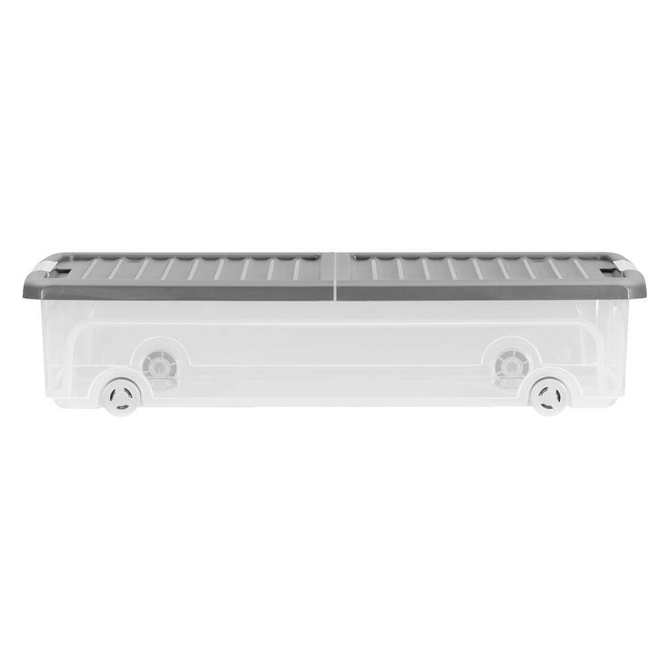 De KIS W-Box XL onderbedbox heeft een afmeting van 79x58x16,5 cm en een inhoud van 55L.