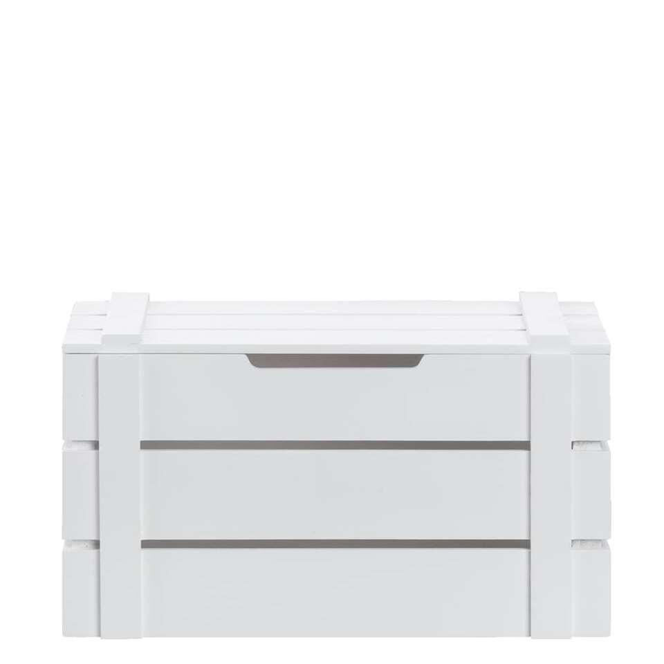 Kist raaf is een handige, stoere kist gemaakt van hout in de kleur wit. Met deze kist verzamel je allerlei spulletjes op één plek, dit maakt opruimen en ordenen wel heel gemakkelijk!
