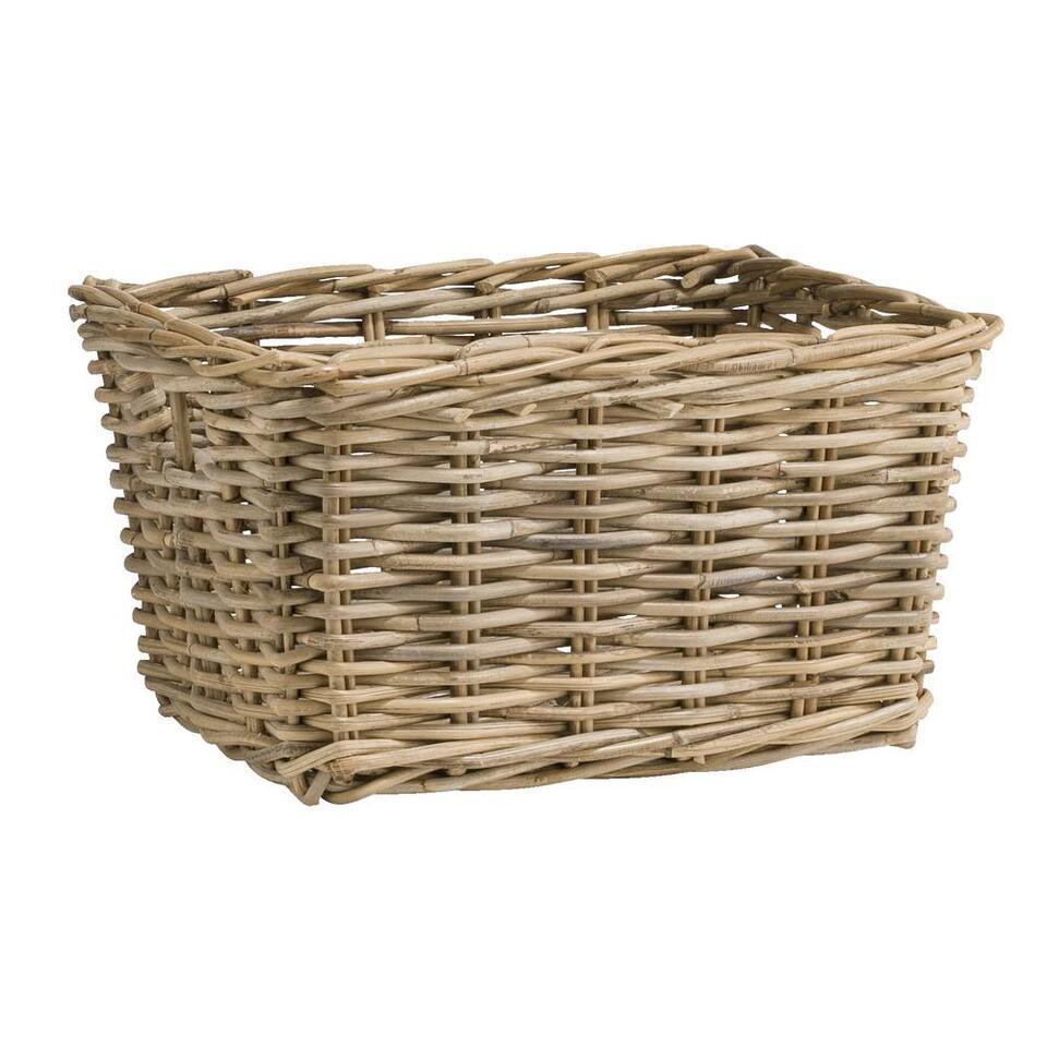 Gebruik deze rieten lademand Pien voor het opbergen van al je belangrijke spullen. Deze bruin/grijze mand is gemaakt van rotan. De mand heeft een afmeting van 43x33x25 cm.