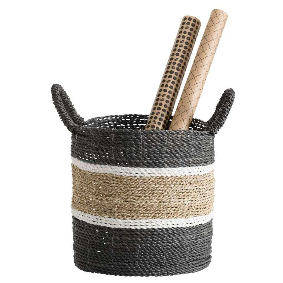 Mand Bologna - naturel/zwart/wit - 35x33 cm