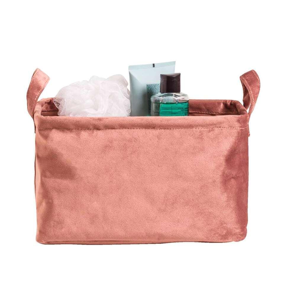 Opbergmand Mariska - roze - 16x28x20 cm