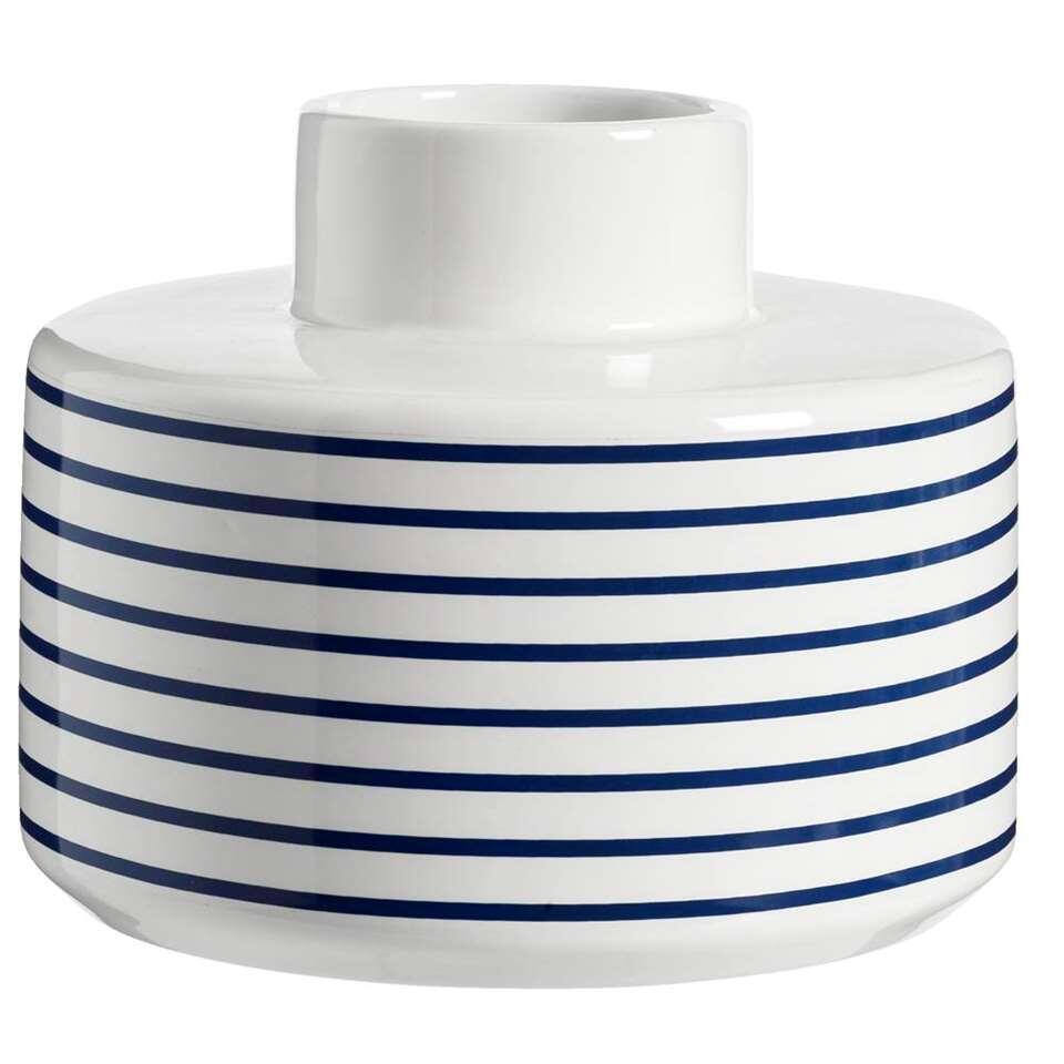 Vaas Nuri – wit/blauw – 15,5xØ18 cm – Leen Bakker