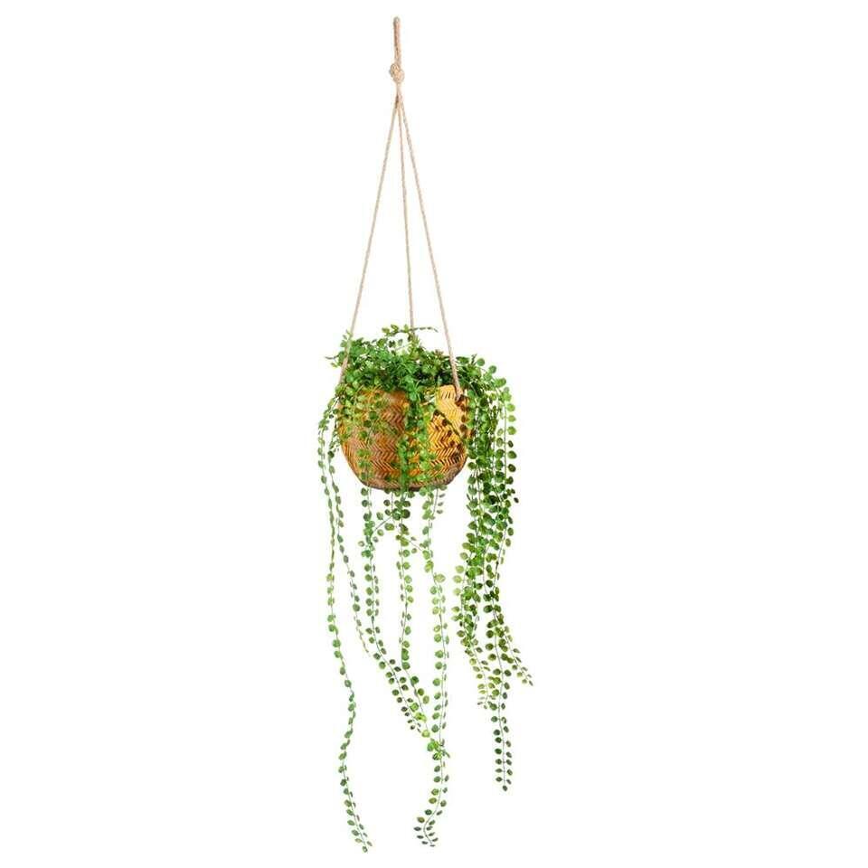 Bloempot hang Frenk - geel - 13x15 cm