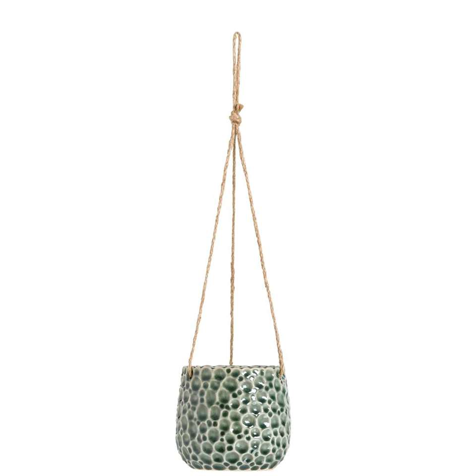 Bloempot hangend Paul - donkergroen - 11xØ12 cm - Leen Bakker