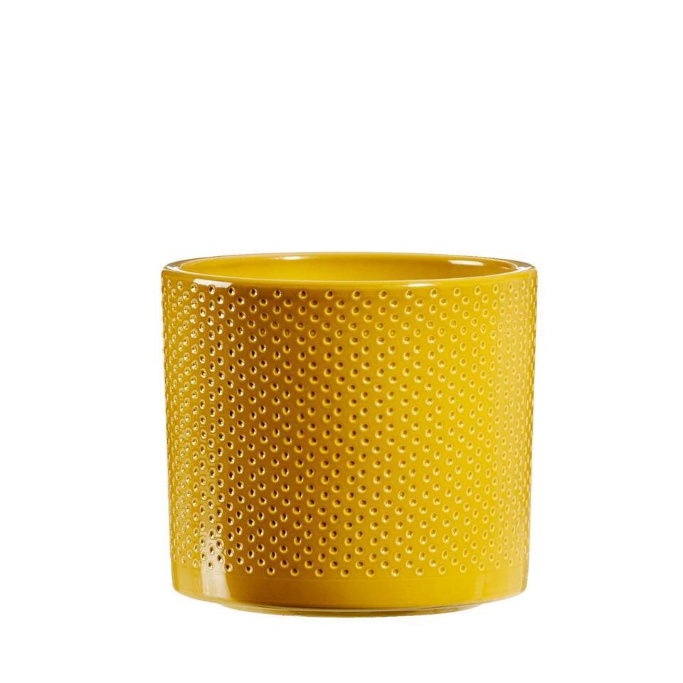 Bloempot Chris - geel - 12,5x13,5 cm