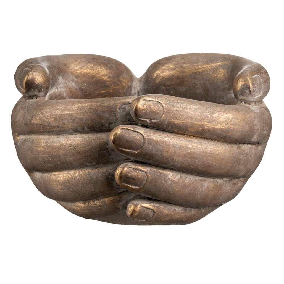 Bloempot Handen - bruin/goud - 9,5x18,5x16,5 cm