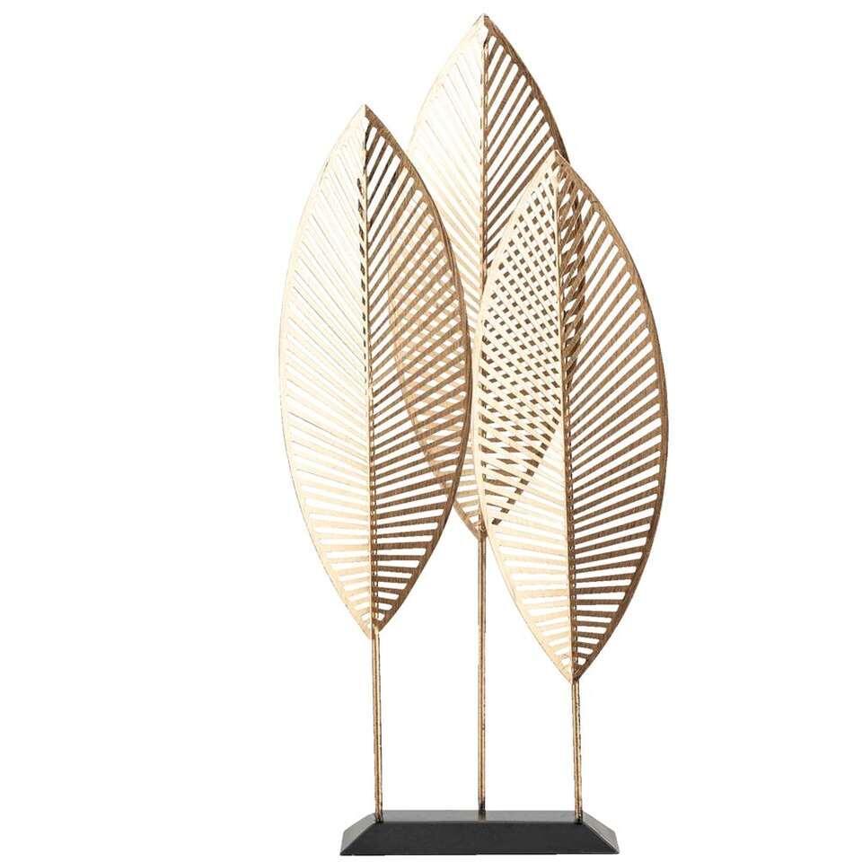 Beeld Bladeren - zwart/goud - 50x24x9 cm